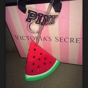 Victoria's Secret pink watermelon cup w straw
